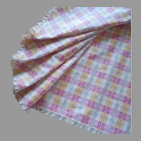 Round Pink Green Yellow Checked Tablecloth Vintage 55 Inch Cotton