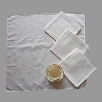 Monogram E.R. Center Placed Large Napkins European Vintage 4
