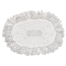 Ruffled Crocheted Lace Oval Centerpiece Doily Vintage White