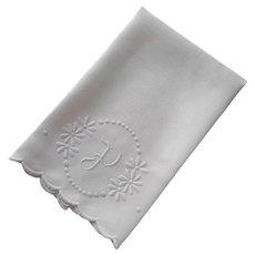 Monogram P Antique Linen Towel White Work Hand Embroidery
