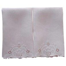 Unused Madeira Guest Towels Pale Pink Linen Vintage Pair Appliqued