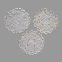 Silk Embroidery Doilies 3 Antique Finger Bowl Size Linen