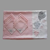 Madeira Tablecloth 8 Napkins 1950s Pink Gray White Linen Vintage Appliqued