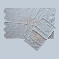 1920s Italian Cutwork Embroidered Pillowcases Vintage Unused Cotton