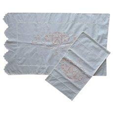 1920s Italian Cutwork Embroidered Pillowcases Vintage Unused Cotton