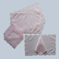 Madeira Pink Linen Placemats Napkins Set Vintage White Dots Hand Embroidery