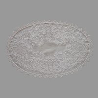 Filet Lace Cutwork Hand Embroidered Oval Linen Tray Doily Vintage