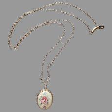 1928 Jewelry Co. Company Porcelain Locket Necklace Vintage Long Chain