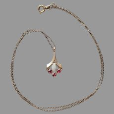 Dainty Opal Tiny Rubies Gold Filled Drop Necklace Vintage Fine Chain