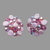 Pink Crystal Pink Porcelain Beads Clip On Earrings Vintage Vogue