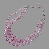 Rose Pink Crystal Beads 3 Strand Necklace Vintage AB Glass