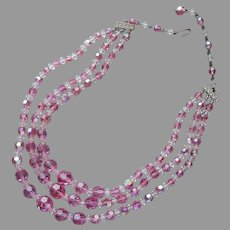 Rose Pink Crystal Beads 3 Strand Necklace Vintage AB Glass