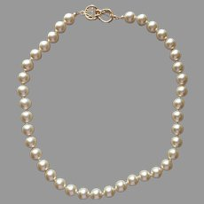 Kenneth Jay Lane Faux Pearls Necklace 18 Inch 10 mm Logo Clasp Vintage