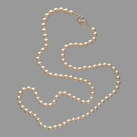 Kenneth Jay Lane Faux Pearls Necklace 36 Inch 8 mm Logo Clasp Vintage