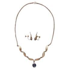 Van Dell Alexandrite Gold Filled Necklace Earrings Vintage Blue Purple