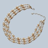 Trifari Textured Gold Tone Faux Pearls Three Strand Necklace Vintage