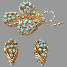 1960s Faux Turquoise Glass Stones Gold Tone Pin Clip Earrings Set