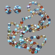 1960s Vogue Glass Beads Necklace Clip On Earrings Sky Blue Amber AB Vintage