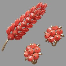 1960s Crown Trifari Faux Coral Pin Clip On Earrings Set Vintage