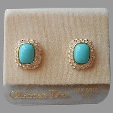 ca 1990 Christian Dior Pierced Earrings Vintage Turquoise Glass Rhinestones On Card