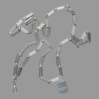 ca 1970 Napier Fob Chain Necklace Vintage Original Tag Silver Tone