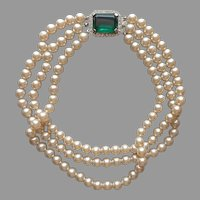 Emerald Green Glass Clasp Choker 3 Strand Faux Pearls Vintage