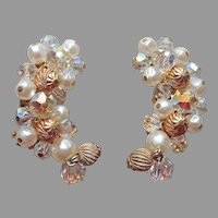 Ear Climber Earrings Clip On Vintage Faux Pearls Crystal Crimped Metal Beads