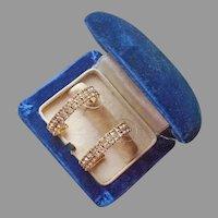 Nolan Miller Rhinestone Hoop Pierced Earrings Gold Tone Vintage