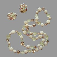 Vogue Glass Crystal Beads Necklace Clip On Earrings Vintage Yellow Brown Taupe Set