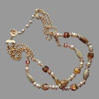 Vendome Necklace Art Glass Beads Chains Faux Pearls Vintage Brown Pink Gold