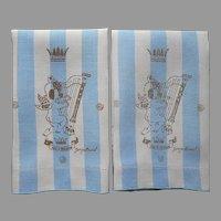 Georges Briard Linen Guest Towels Blue Gold Cherubs Vintage This Is Paradise
