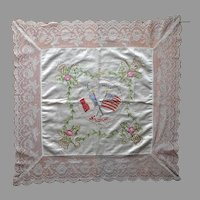 Souvenir Of France WWI Pillow Cover Antique Lace Silk Embroidery