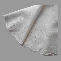 Antique Round Centerpiece Linen Tablecloth Topper White Work Hand Embroidery