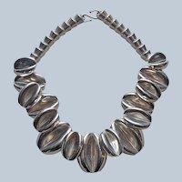 1990s Alpaca Silver Necklace Bold Statement Vintage Chunky