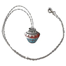 Sterling Silver Necklace Crushed Turquoise Coral Inlay Vase Vintage