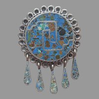 Taxco Mexico Sterling Silver Crushed Stone Inlay Dangle Pin Vintage