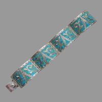 Signed Mexico Sterling Silver Turquoise Inlay Bracelet Vintage 4 Panel Signed