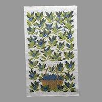 Linen Tea Towel Sewall Jackson Print Blueberries Vintage Unused