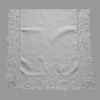 Antique Tray Cloth Dual Monogram C.M.W. Linen Cutwork Hand Embroidered