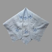 Tea Tablecloth Light Blue Hand Embroidered