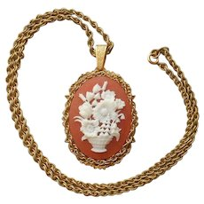 Miriam Haskell Cameo Necklace Chain Vintage Signed Flowers