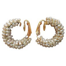 Miriam Haskell Earrings Wired Glass Pearl Seed Beads Vintage Hoops Clip On