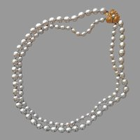 Miriam Haskell Signed 2 Strand Faux Baroque Pearls Necklace Pansy Clasp