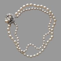 Miriam Haskell Necklace Wired Beads Faux Baroque Pearls Vintage 2 Strand