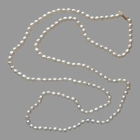 Miriam Haskell Signed 58 Inch Rope Faux Baroque Pearls Necklace