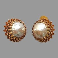 Miriam Haskell Signed Lotus Faux Baroque Pearl Earrings Vintage Clip On