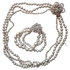 Miriam Haskell Set Bracelet Necklace Vintage Baroque Pearls Wired Beads