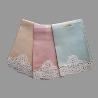 Guest Towels Linen Lace Unused Vintage Set 3 Pink Green Yellow