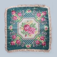 Barkcloth Throw Pillow Cover Vintage Pink Green Roses Unused Bark Cloth
