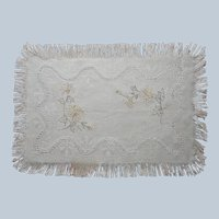 Antique Carving Cloth Linen Hand Embroidered Fringed Unused